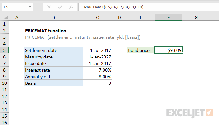 Excel PRICEMAT function