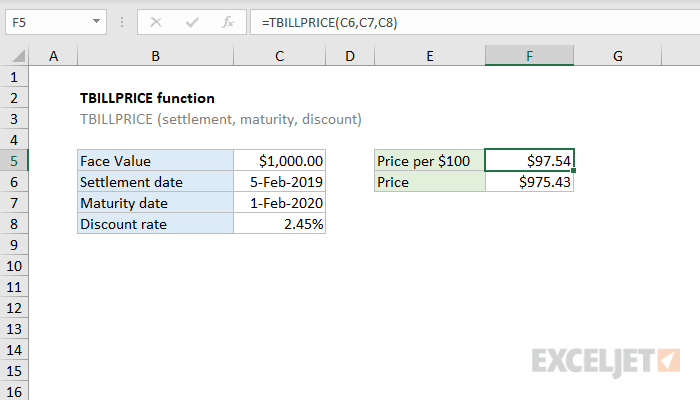 Excel TBILLPRICE function