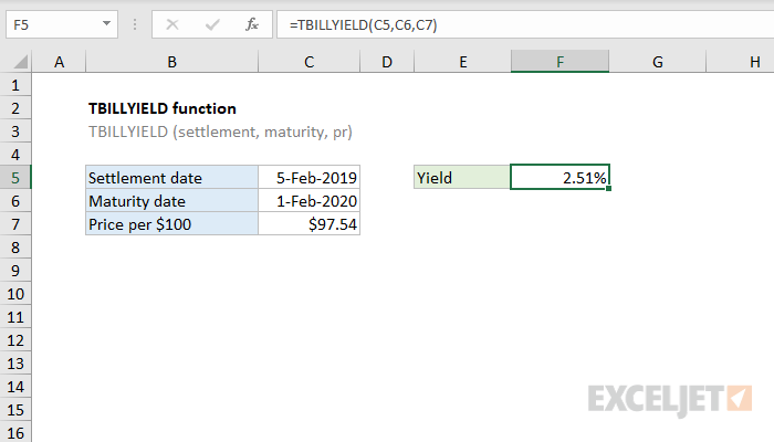 Excel TBILLYIELD function