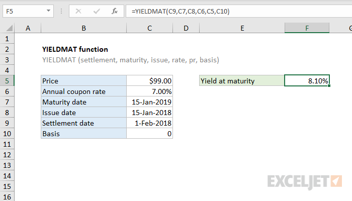 Excel YIELDMAT function