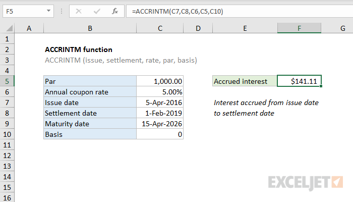 Excel ACCRINTM function
