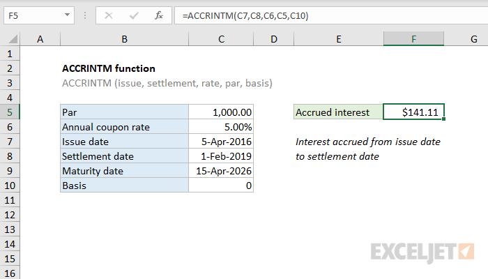Excel ACCRINTM function