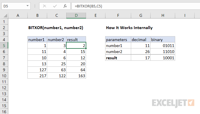 How to use the Excel BITXOR function | Exceljet