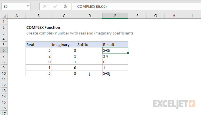 Excel COMPLEX function