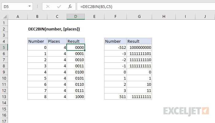 Excel DEC2BIN function