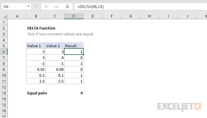 Excel DELTA function
