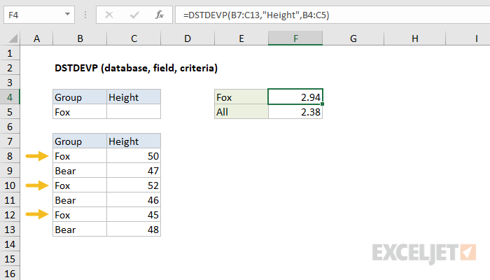 Excel DSTDEVP function