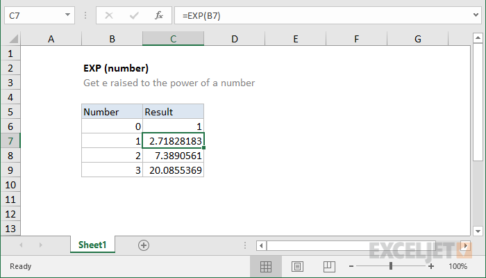 How to use the Excel EXP function | Exceljet