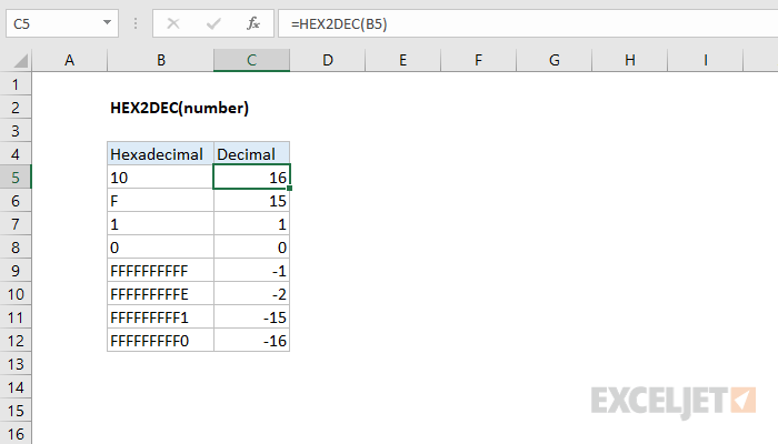 Excel HEX2DEC function