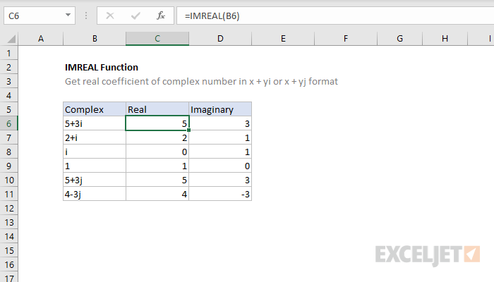 Excel IMREAL function