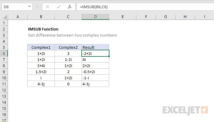 Excel IMSUB function