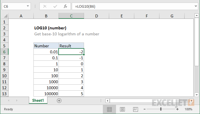 Excel LOG10 function