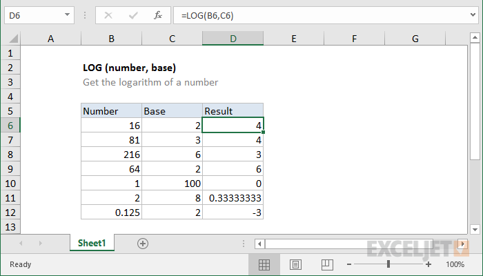 Excel LOG function