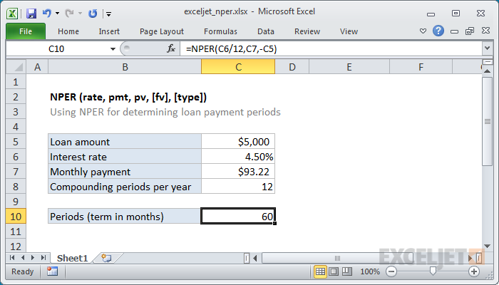 how to use the excel nper function exceljet