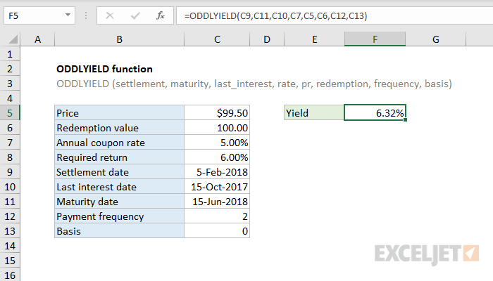 Excel ODDLYIELD function