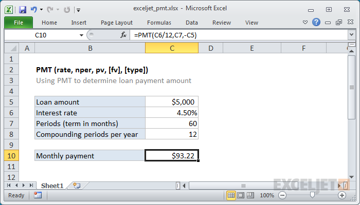 how to use the excel pmt function