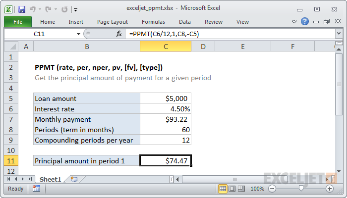 how to use the excel ppmt function exceljet