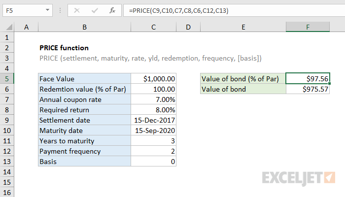Excel PRICE function