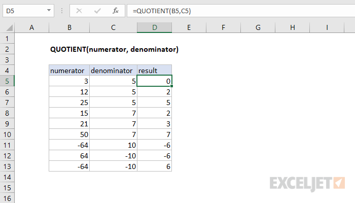 Excel QUOTIENT function