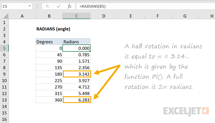 Excel RADIANS function