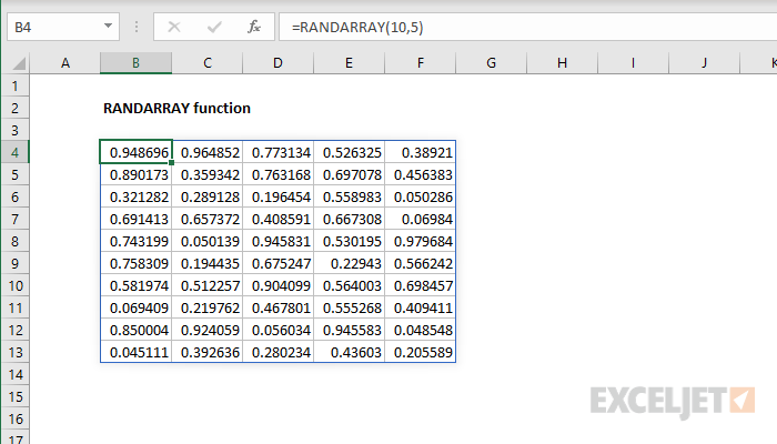Excel RANDARRAY function