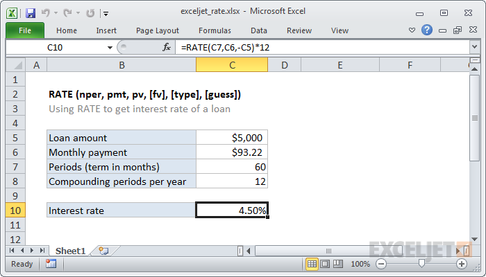 Excel RATE function