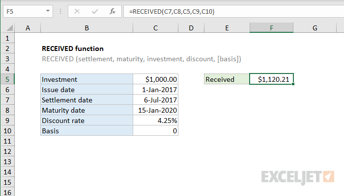 Excel RECEIVED function