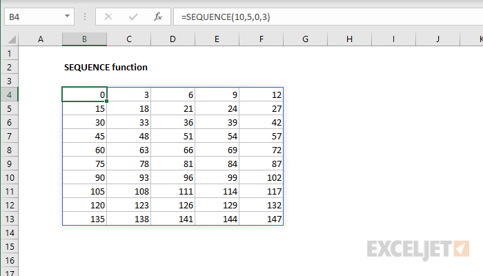 Excel SEQUENCE function