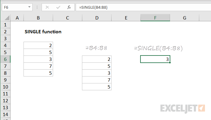 Excel SINGLE function