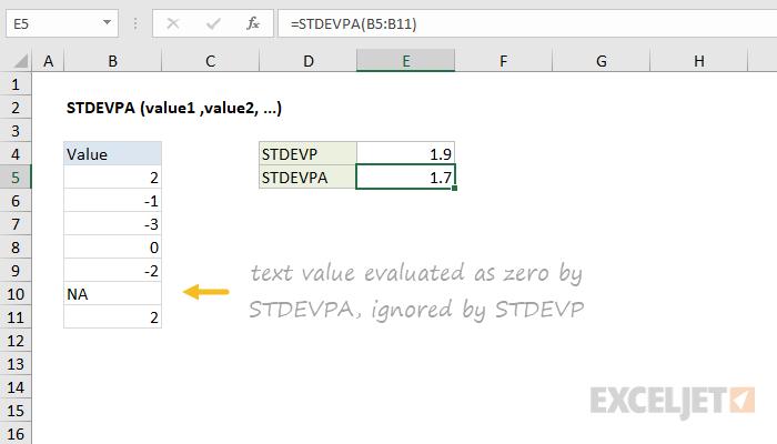Excel STDEVPA function