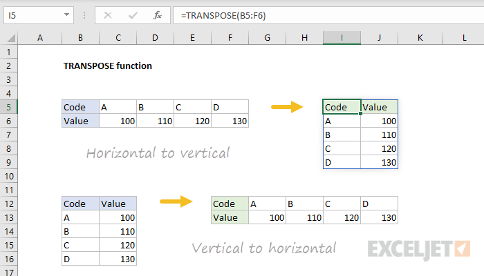 Excel TRANSPOSE function