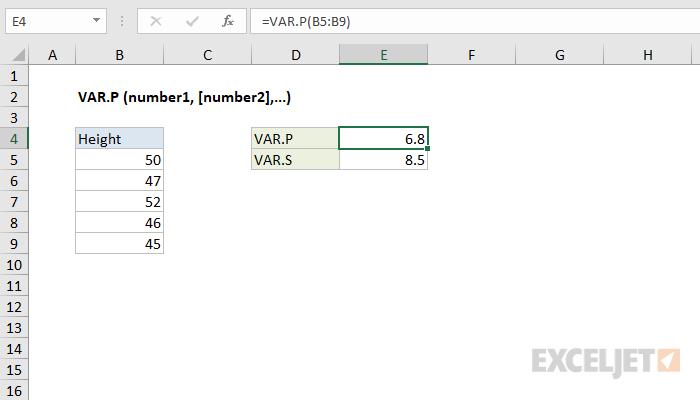 Excel VAR.P function