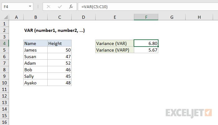 How to use the Excel VAR function | Exceljet