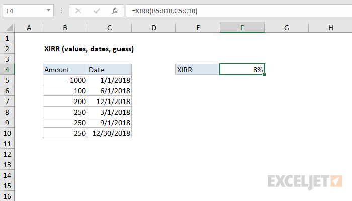 how to use the excel xirr function exceljet