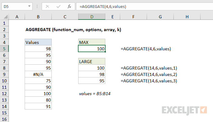 Excel AGGREGATE function
