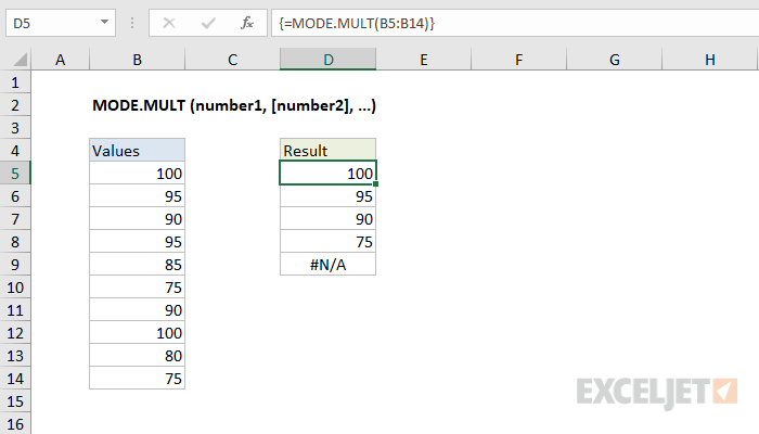 Excel MODE.MULT function
