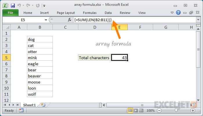 Example array formula in Excel