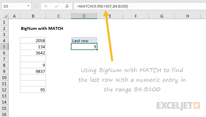 Example of bignum used in an Excel formula