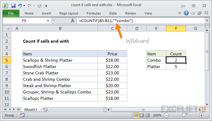 Example of wildcard in COUNTIF function