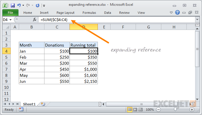 Example of expanding reference in Excel