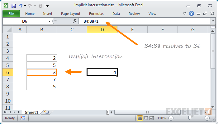 Excel implicit intersection example