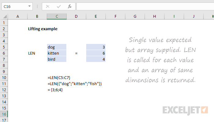 "Example of ""lifting"", an array calculation behavior in Excel"