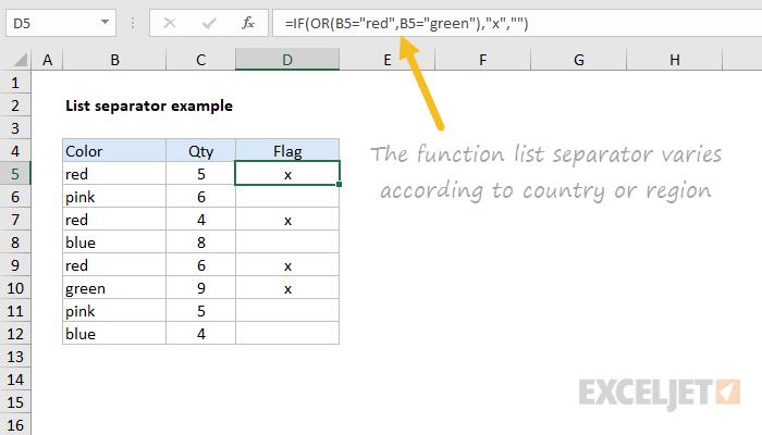 Excel function list separator varies by region