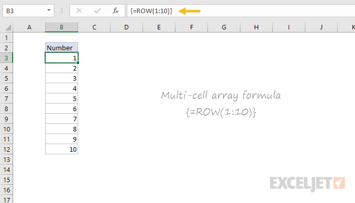 Example of multi-cell array formula